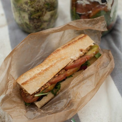 Heirloom Tomato, Olive Tapenade, and Goat Cheese Sandwich