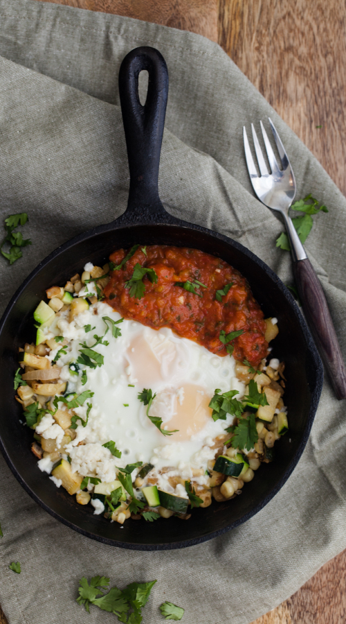 Zucchini and Corn Hash Egg Skillet