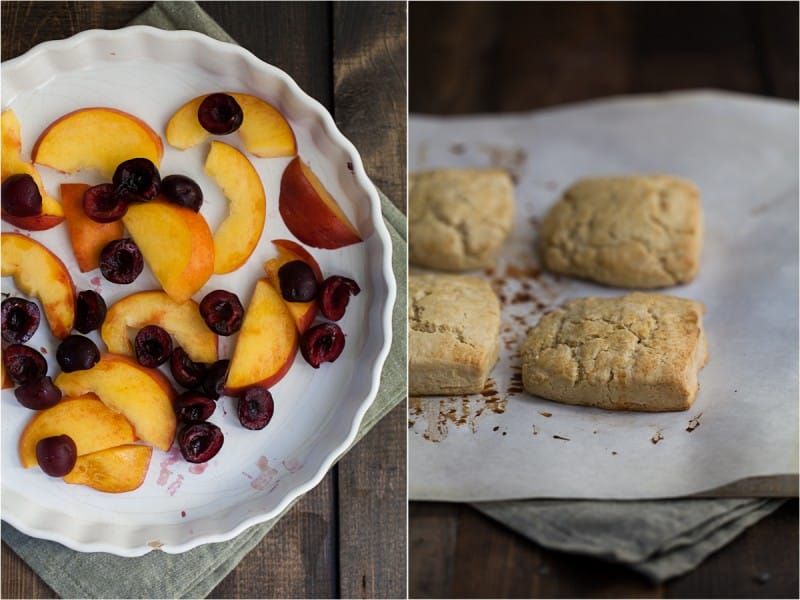 Roasted Peach and Cherry Einkorn Shortcake