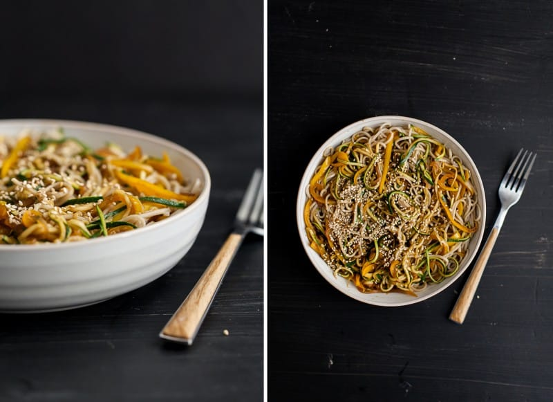 Garlic Soba and Zucchini Noodles - Cats Love Cooking