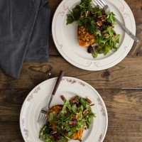 Twice Baked Blue Cheese and Quinoa Sweet Potato with Maple-Mustard Arugula Salad