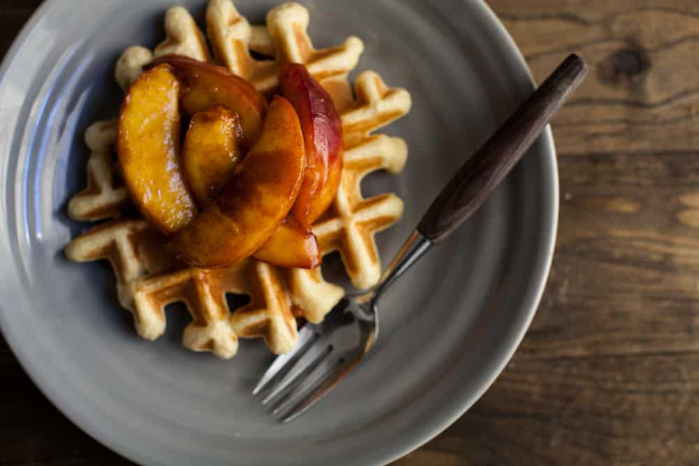 Spelt Waffles with Cinnamon Peaches (+ a baby shower)