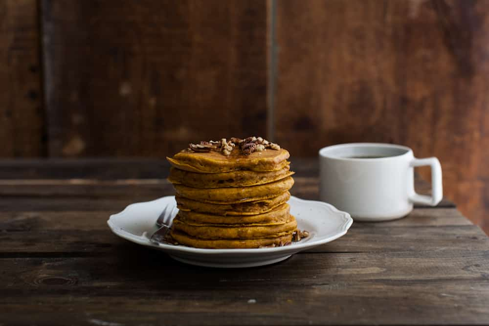 Brown Butter Pumpkin Pancakes with Pecans