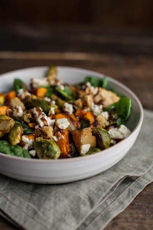 Roasted Sweet Potato and Brussels Sprout Cornbread Panzanella Salad ...