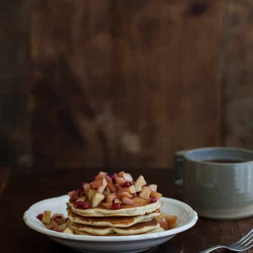 Wheat-Almond Pancakes with Apples and Pomegranate Topping