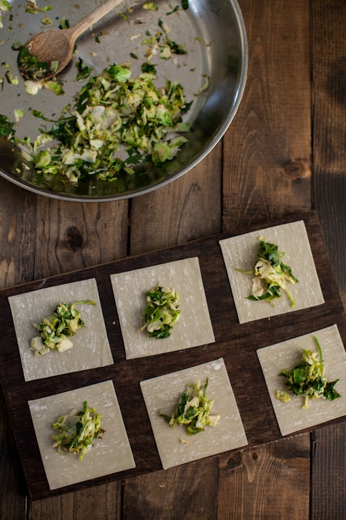 Shaved Brussels Sprouts and Ginger Potstickers