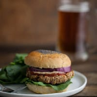 Brown Rice, Oat, and Nut Veggie Burger