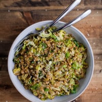 Shaved Brussels Sprout Einkorn Salad with Soy-Mustard Dressing