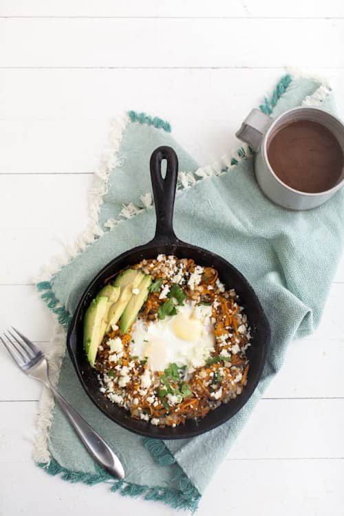 Chipotle Sweet Potato and Brown Rice Egg Skillet