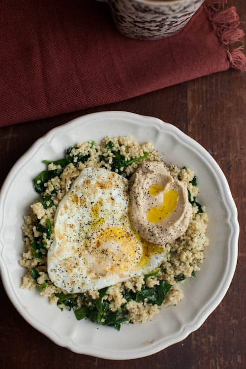 Garlic Spinach, Millet, Hummus, and Eggs
