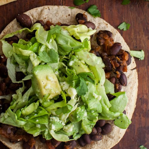 black bean tostadas with avocado salad black bean tostadas with