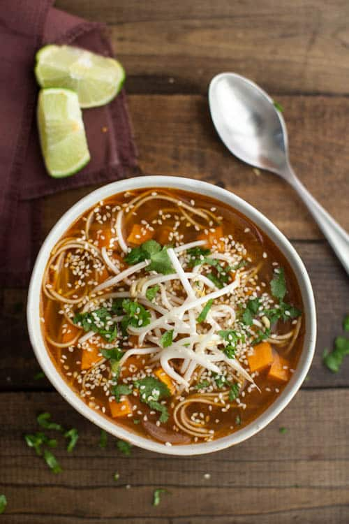 Sweet Potato Sriracha Noodle Soup