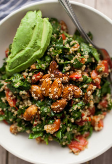 Sesame-Almond + Avocado Spinach Salad