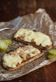 Caramelized Onion, Mustard, and Cheese Toast (with pickles)