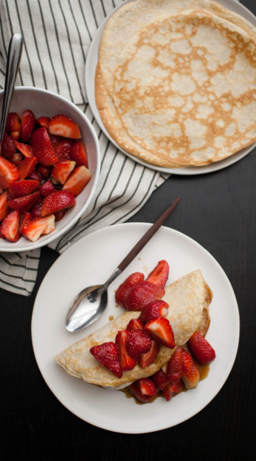 Rye Crepes with Sorghum-Bourbon Strawberries + Ice Cream