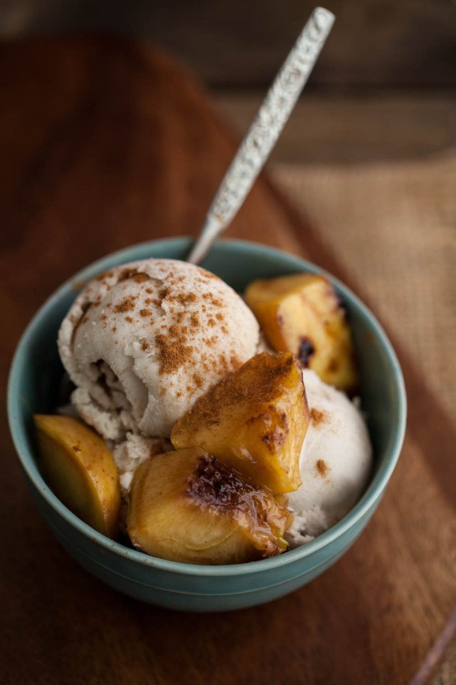Grilled Peaches  with Vegan Cinnamon Ice Cream | Frontier Natural Co-op