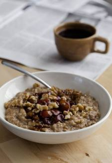 Cracked Rye Porridge with Roasted Molasses Cherries