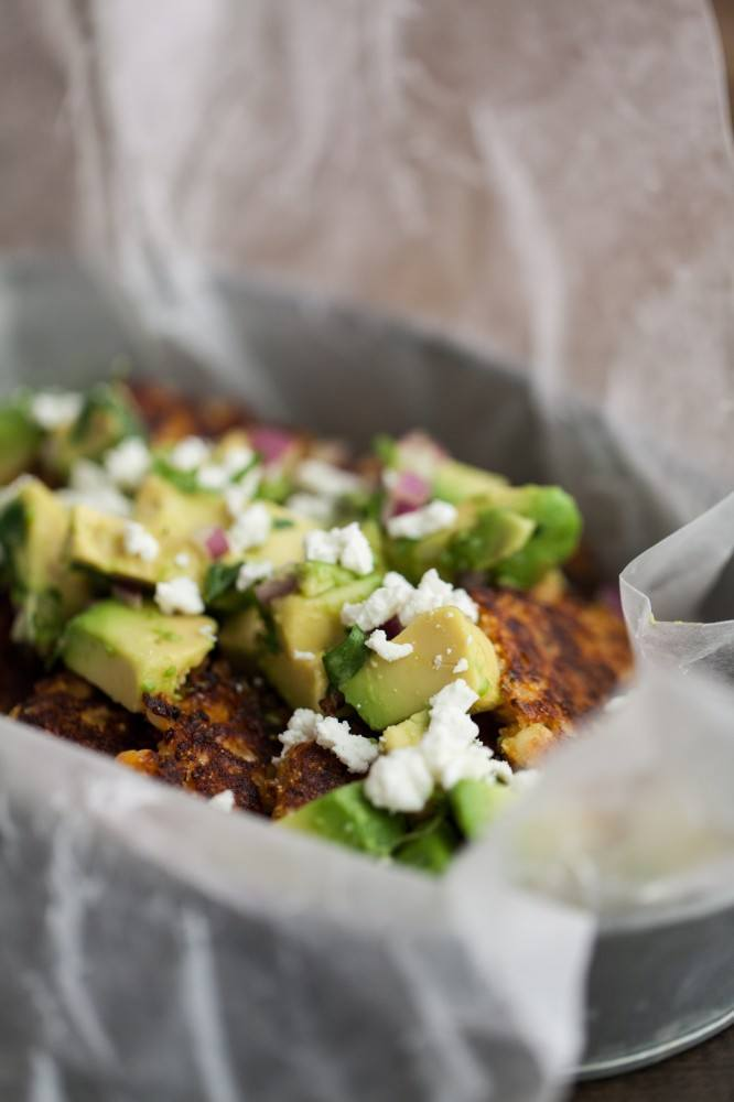 Chipotle Corn Cakes with Avocado and Goat Cheese