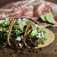 Chipotle Lentil Tacos with Avocado and Microgreens