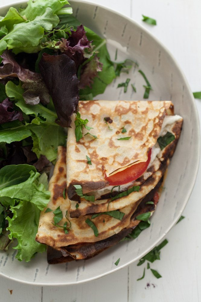 GF Oat Crepes with Tomatoes, Basil, and Goat Cheese