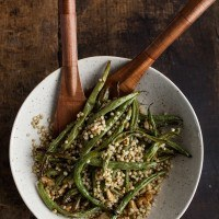 Garlic Green Beans with Sorghum and Walnuts