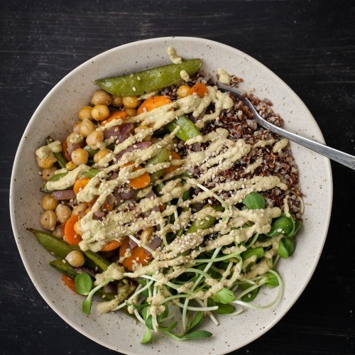 Roasted Vegetable + Chickpea Bowl with Cilantro Cashew Cream