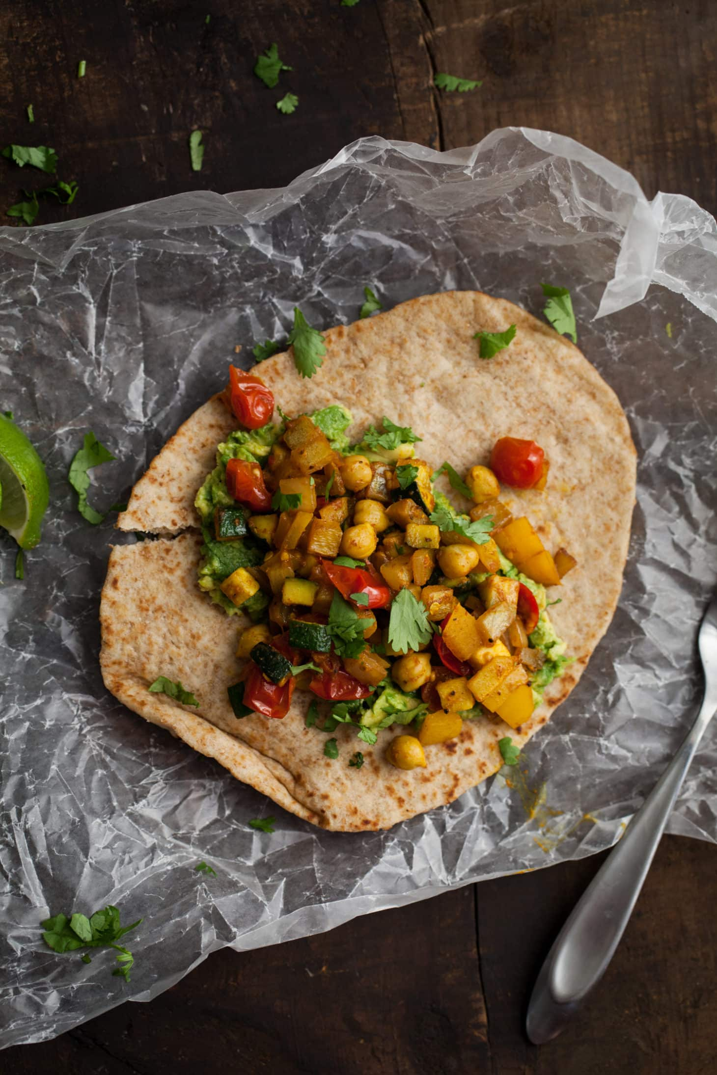 Curry Roasted Vegetable and Avocado Naan-wich | @naturallyella