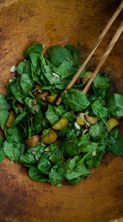 Curried Red Potato Spinach Salad
