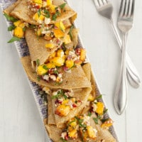 Peach and Blue Cheese Rye Crepes