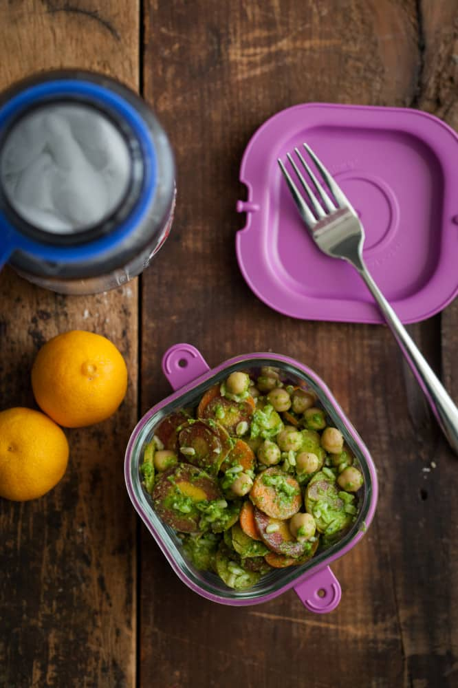 Pesto Carrots and Chickpeas with Rice