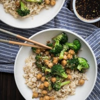 Broccoli Chickpea Bowl with Homemade Teriyaki Sauce | @naturallyella