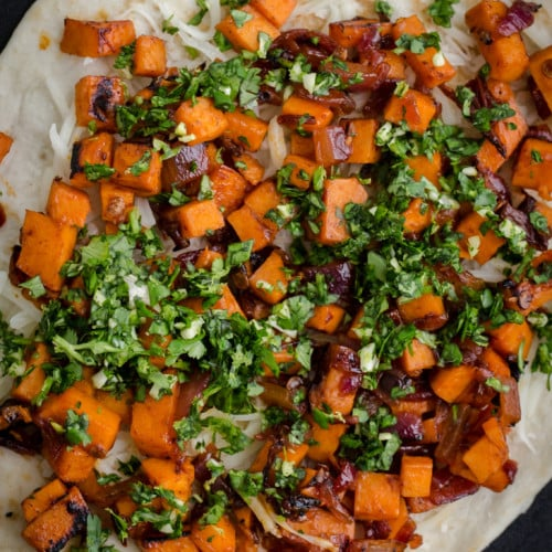 Chipotle Sweet Potato Quesadilla with Cilantro Gremolata | Naturally Ella