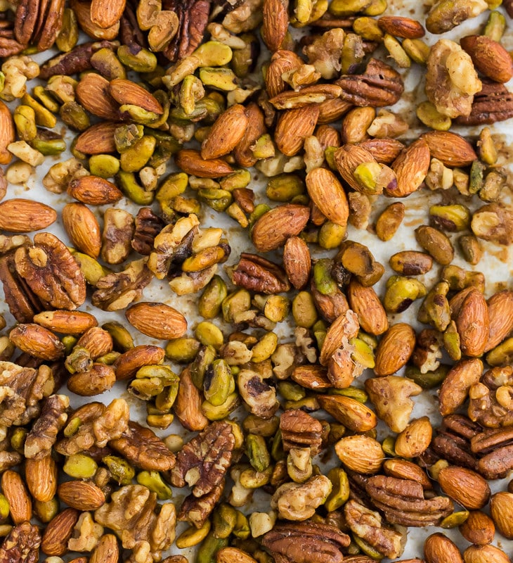 Honey Mustard Roasted Nuts | Naturally Ella