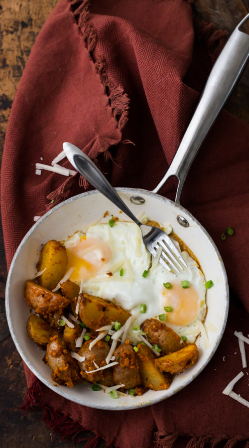 Roasted Romesco Potatoes with Eggs | @naturallyella