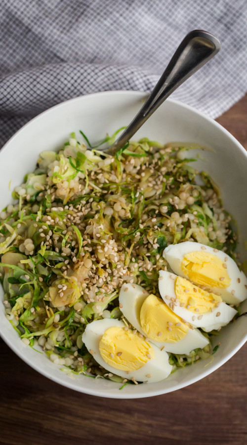 Hard Boiled Egg and Brussels Sprout Bowl | @naturallyella