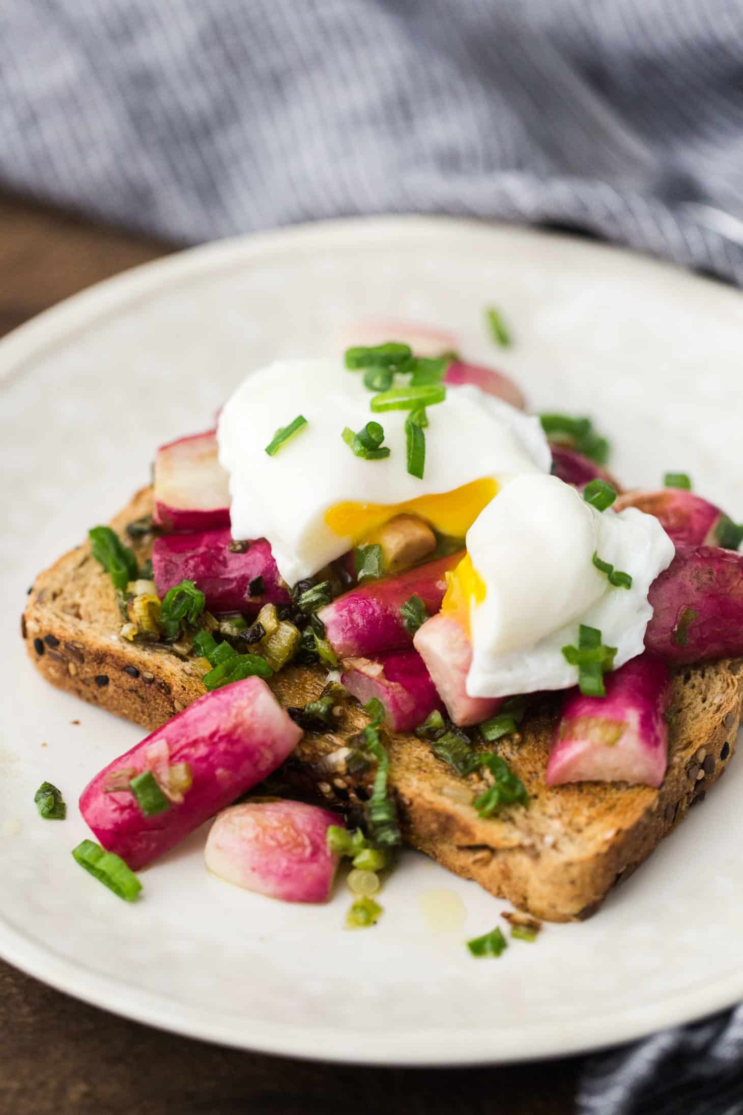 Buttered Radishes and Spring Onions with a Poached Egg