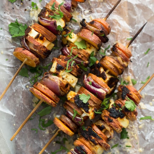 Chipotle Sweet Potato Skewers With Cilantro Lime Rice Recipe ...
