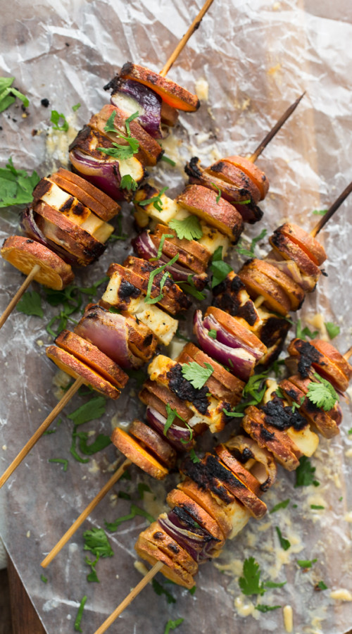Grilled Sriracha-Tahini Sweet Potato Skewers with Halloumi | @naturallyella
