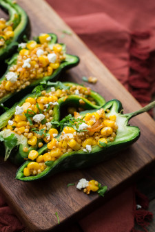 Sweet Corn Sorghum Stuffed Peppers | @naturallyella