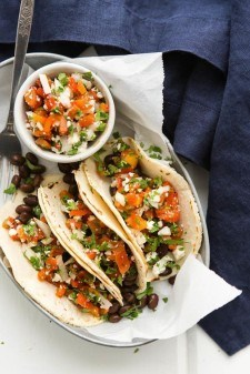 Black Bean Tacos with Roasted Red Pepper Relish   http://naturallyella.com