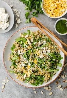 Freekeh Salad with Sweet Corn, Feta, and Arugula