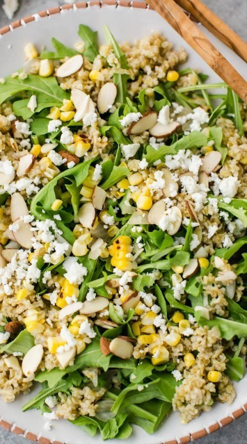 Freekeh Salad with Sweet Corn, Almonds and Arugula