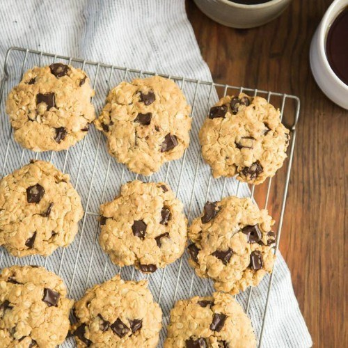 Peanut Butter Oatmeal Cookies with Chocolate Chips   http://naturallyella.com