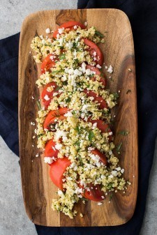 Herbed Millet with Fresh Tomatoes with Feta   http://naturallyella.com