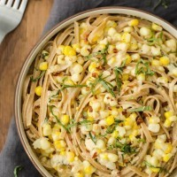 Sweet Corn Pasta with Goat Cheese