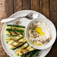 Grilled Zucchini with Lemon Labneh and Za'atar | http://naturallyella.com