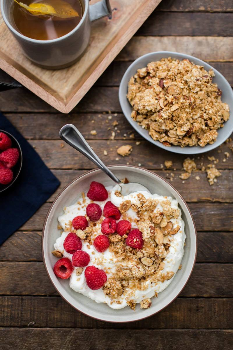 quinoa granola with yogurt