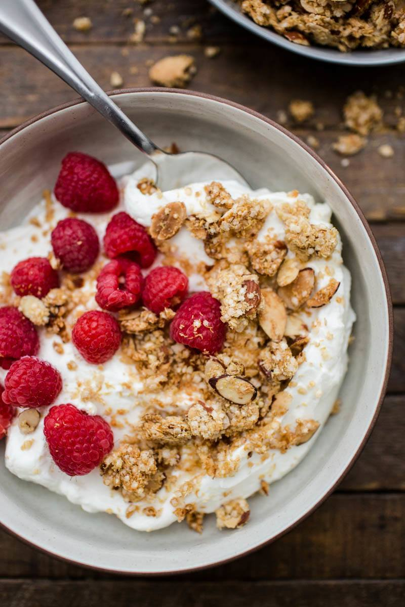 Maple quinoa granola with yogurt | http://naturallyella.com