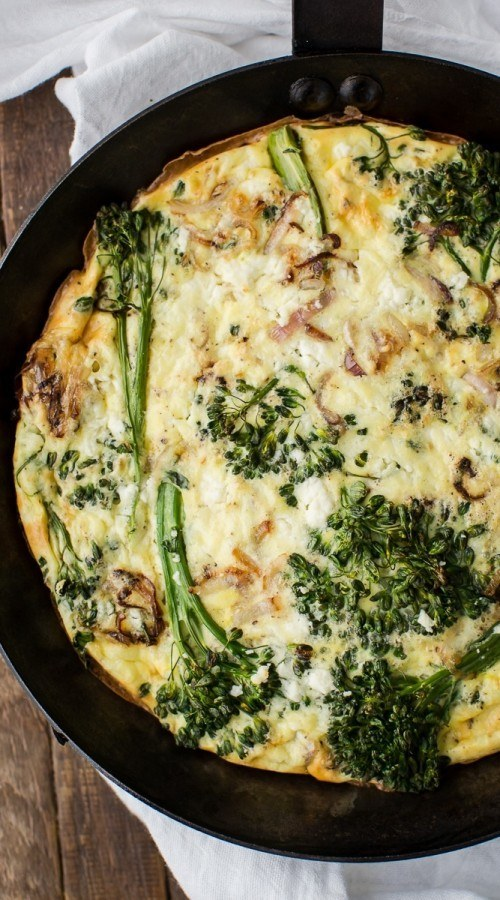 Baby Broccoli Frittata with Feta | http://naturallyella.com