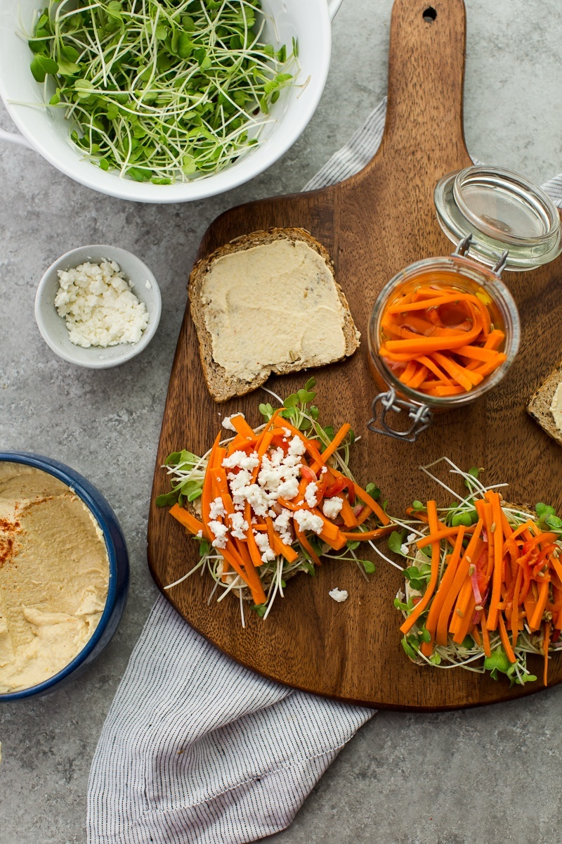 Pickled Carrot and Hummus Sandwich